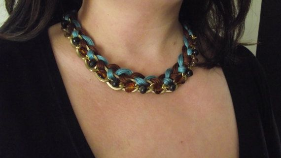 Brown and turquoise necklace by MaryLooGifts on Etsy