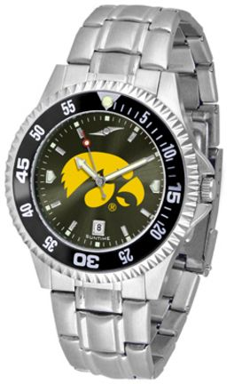 Iowa Hawkeyes Competitor AnoChrome Men's Watch with Steel Band and Colored Bezel