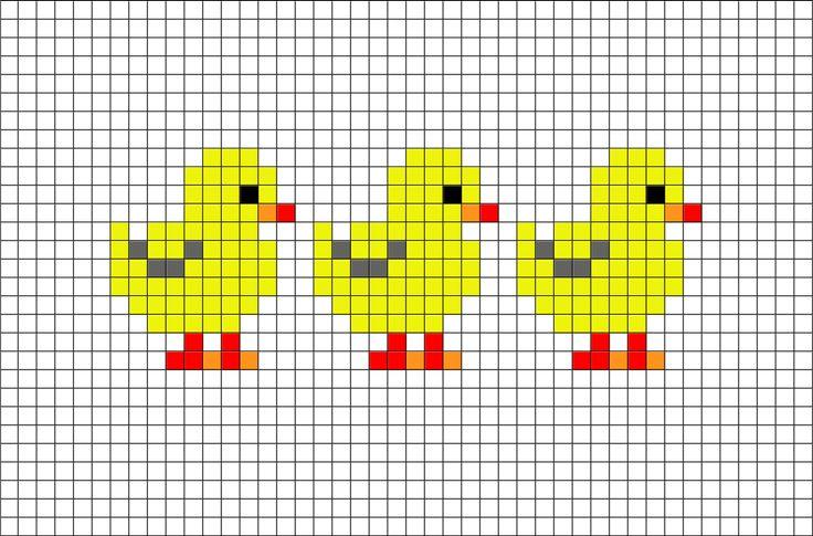 Chicks Pixel Art from BrikBook.com #Chicks #Chicken #babychicken #cute #yellow…