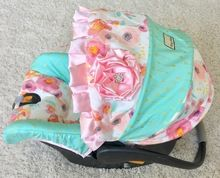 Mint and Gold Arrows and Pink Watercolor Floral Custom Infant Car Seat Cover for Chicco Keyfit or Chicco Keyfit 30