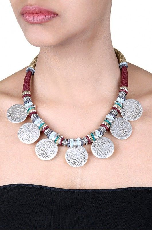 Amrapali: silver seal coin thread necklace