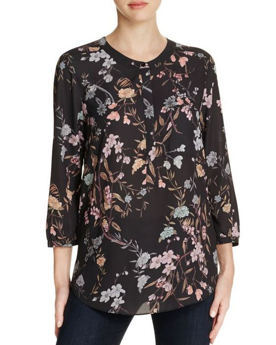 NYDJ's Printed 3/4 Sleeve Blouse features a beautiful floral Stockholm Meadow print. Pair this flattering silhouette with your favorite NYDJ's for a stylish everyday look. With a front chest pocket, and pretty pleating at the back.