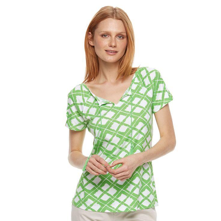 Women's Caribbean Joe Geometric Splitneck Tee, Size: Medium, Med Green