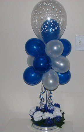 Light Blue And Silver Decorations And Centerpieces