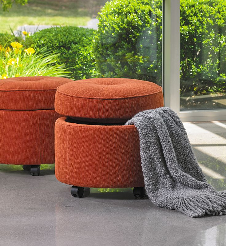 Ideal for small spaces, the round La-Z-Boy U-Turn ottoman doubles as seating and storage. Plus, PIN TO WIN an ottoman! Get contest details at http://houseandhome.com/la-z-boy | #LaZBoy #Furniture #Ottoman #SmallSpace #Storage