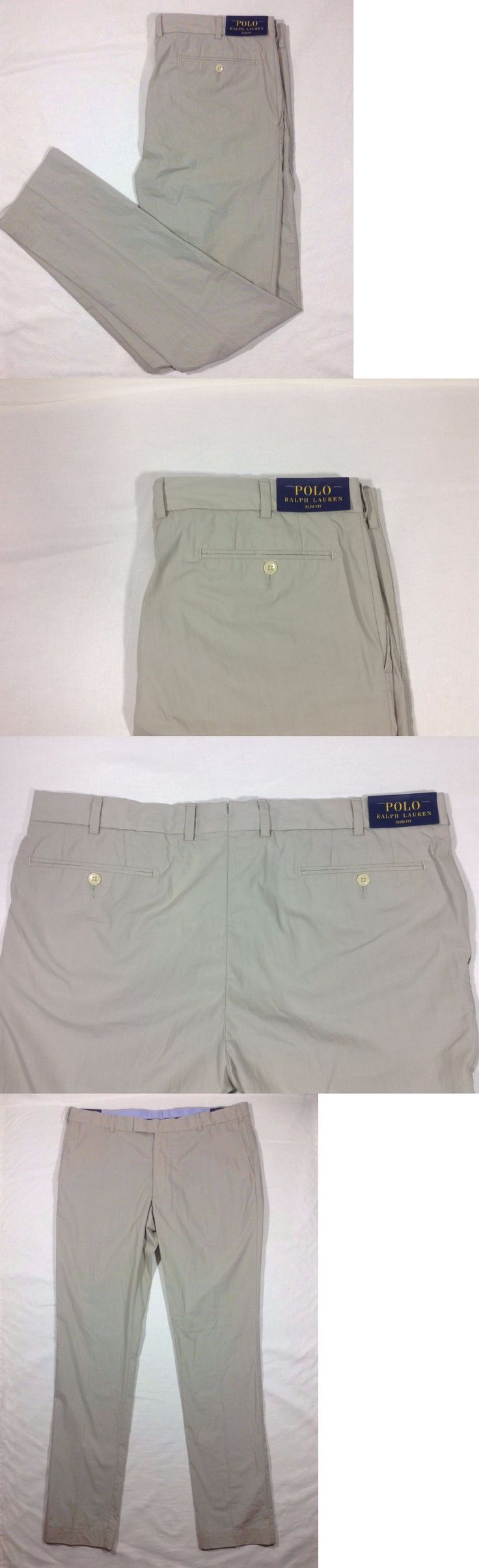 Pants 57989: Polo Ralph Lauren Slim Fit Chino Khaki Flat Front Pants Size 36 X 34 Big Tall -> BUY IT NOW ONLY: $44.99 on eBay!