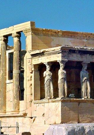 Zuilen in de vorm van vrouwen heten Kariatiden. Akropolis, Athene.