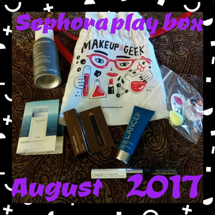 My August 2017 Sephora Play Box #beautyblender mini,#clinique mascara & primer, #hourglass foundation stick, #lancer exfoliator, #livingproof dry shampoo, #dolcegabbana purfume in light blue