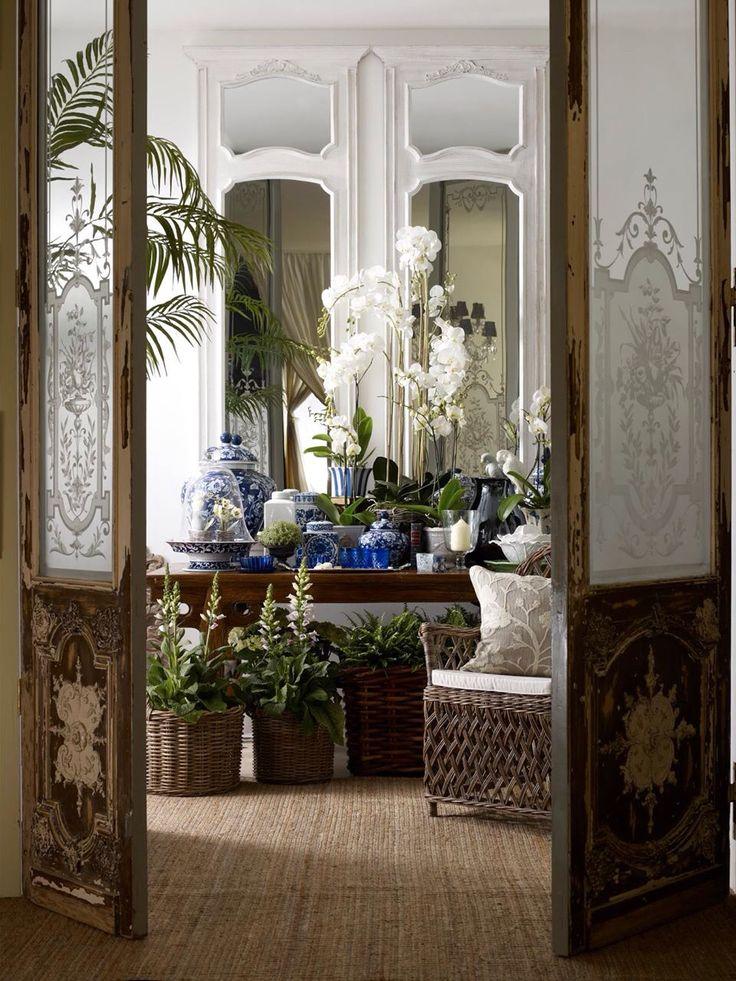 Etched glass insert decorative panel interior doors