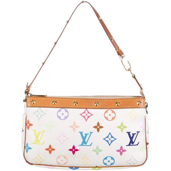 Pre-owned Louis Vuitton Multicolore Pochette Accessoires ($325) ❤ liked on Polyvore featuring bags, handbags, 2006, white, louis vuitton purse, hand bags, multi colored purses, handbag purse and colorful handbags