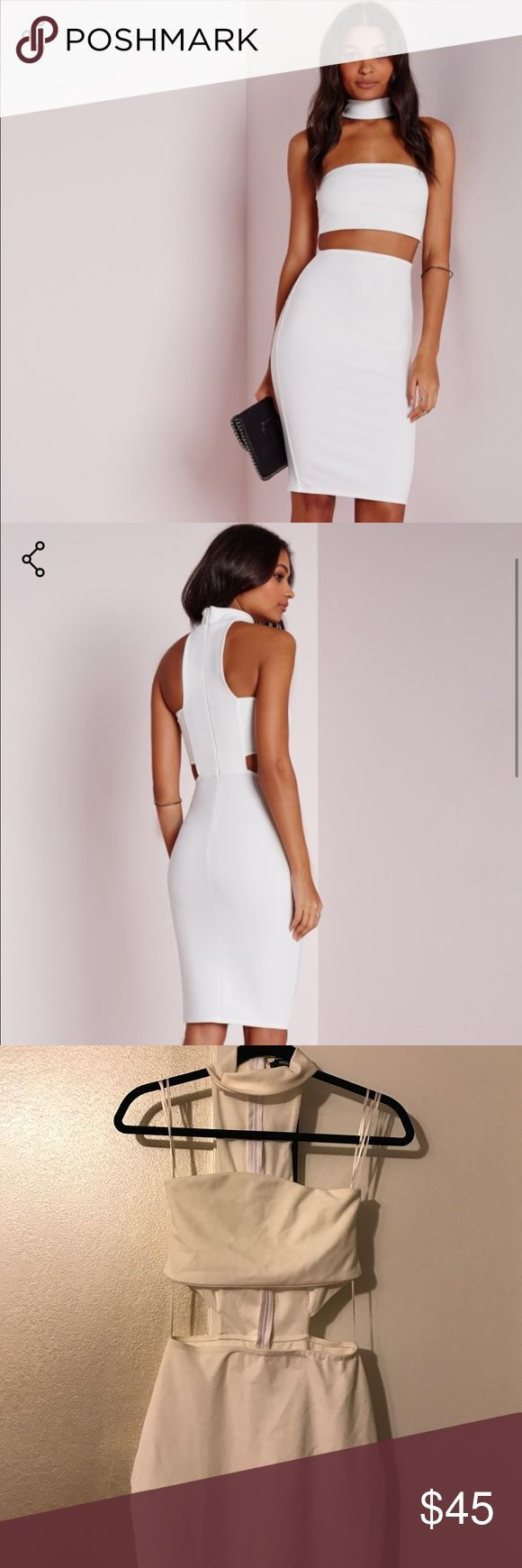 White Midi choker dress from Missguided This is a beautiful new with tags MissGuided dress! It has a choker attached to the dress which connects by zipper! It is new with tags and is in a US size 4. Missguided Dresses Midi