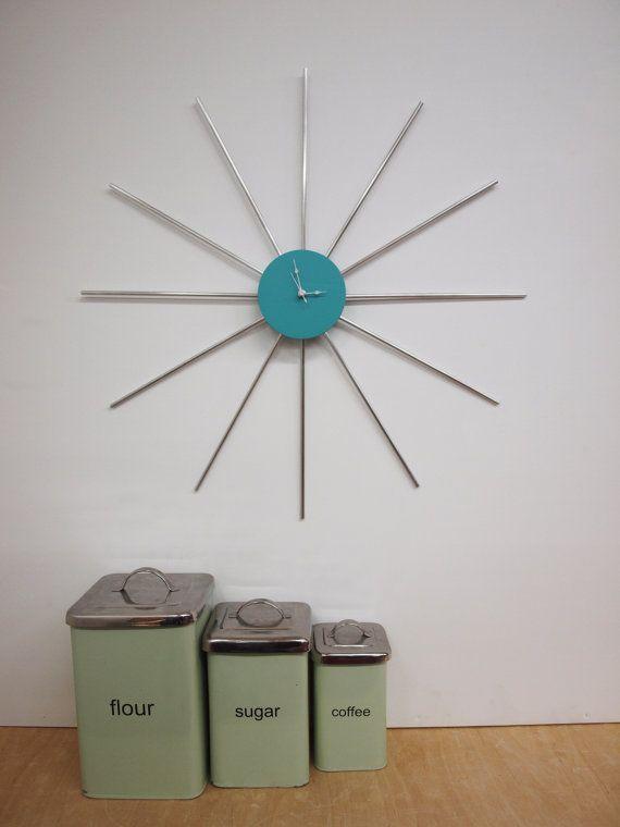 FREE SHIPPING Retro Sunburst Clock by ELEMENTSofIRONnWOOD on Etsy, $85.00