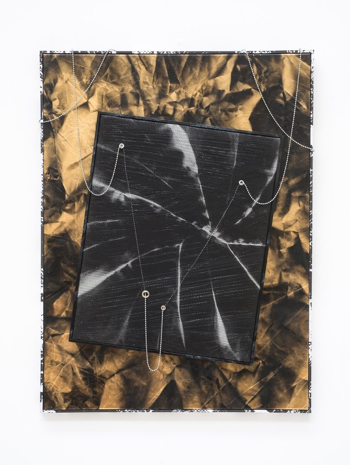 ROMAN LIŠKA Untitled - crease mesh piece, 2013 (synthetic mesh fabric, spraypaint, cling film, stretcher, metal beaded chain, metal eyelets, artist frame) on gold reflective fabric, spray paint, stretcher, artist frame.