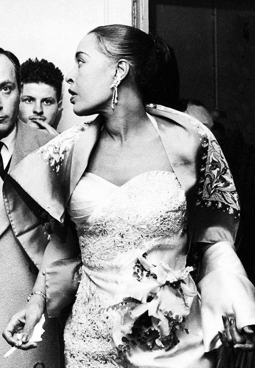 vintagegal:  Billie Holidayat theOlympia Theatre, Paris, November1958 (via)