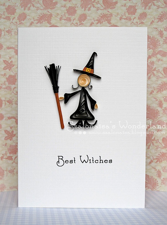 Best Witches Halloween paper quilling card by szalonaisa on Etsy, $7.80