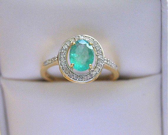 Duchesse Emeraude Diamants  Bague de fiançailles, pierre précieuse bijoux mariée Auréole Bague Or jaune Anneaux nuptiale