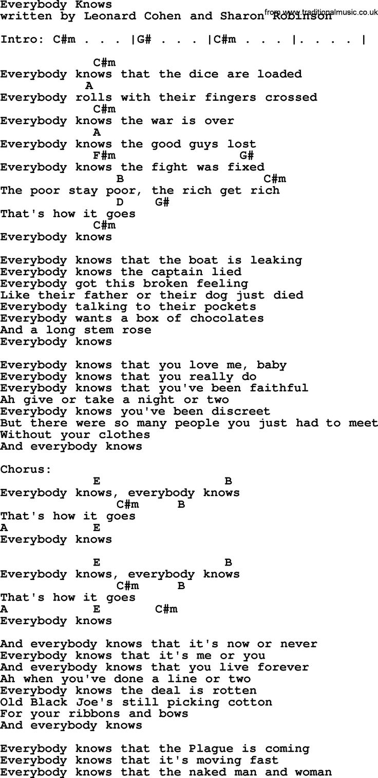 Leonard Cohen song Everybody Knows, lyrics and chords