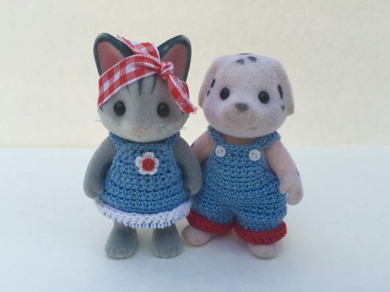 PDF Crochet Pattern for Calico Critter Daddy and Momma Dungarees.