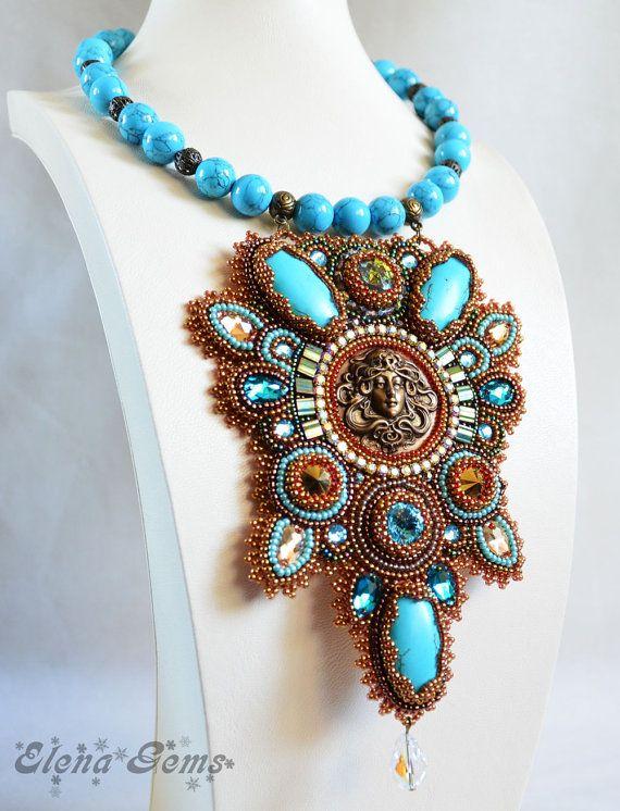 Collana di perline ricamo ricamo di perline gioielli di ElenaGems