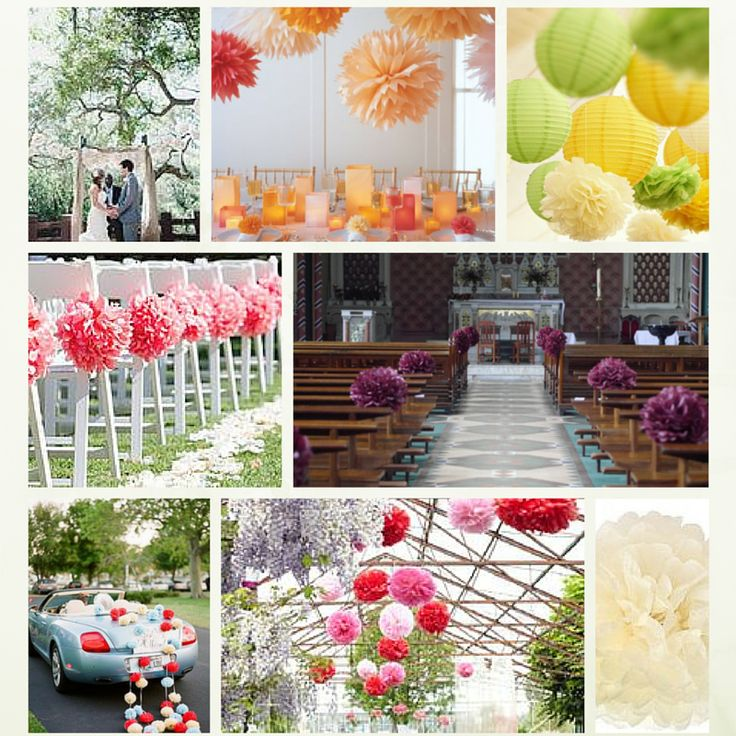 #Papir #pompoms er enkle og dejlige måde at tilføje en pop af farve til #kirkestolen, fester og bryllup receptioner.