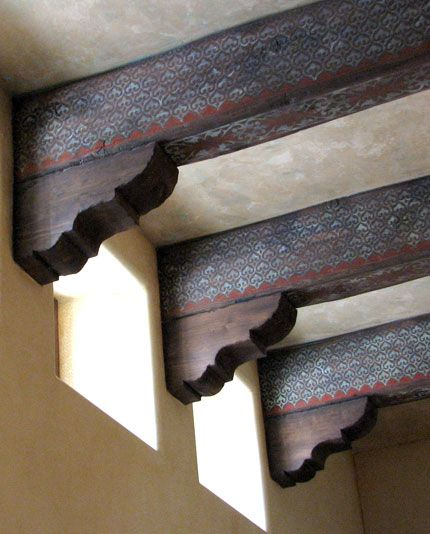 Stenciled wood beams by Mia Pratt and Sue Kinsman   Now we're talking.