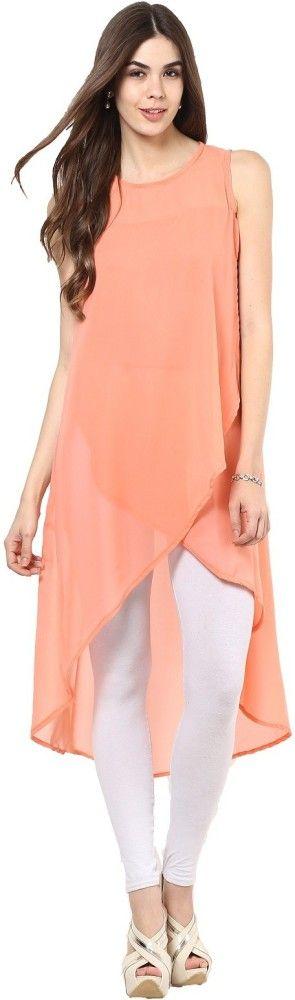La Firangi Solid Women's Georgette Western Tunic/Kurti  #LaFirangi #Peach #Tulip #Kurti
