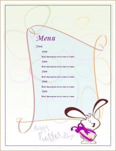 Easter Party Menu Sheet DOWNLOAD at http://www.templateinn.com/10-menu-sheet-templates-for-ms-word/