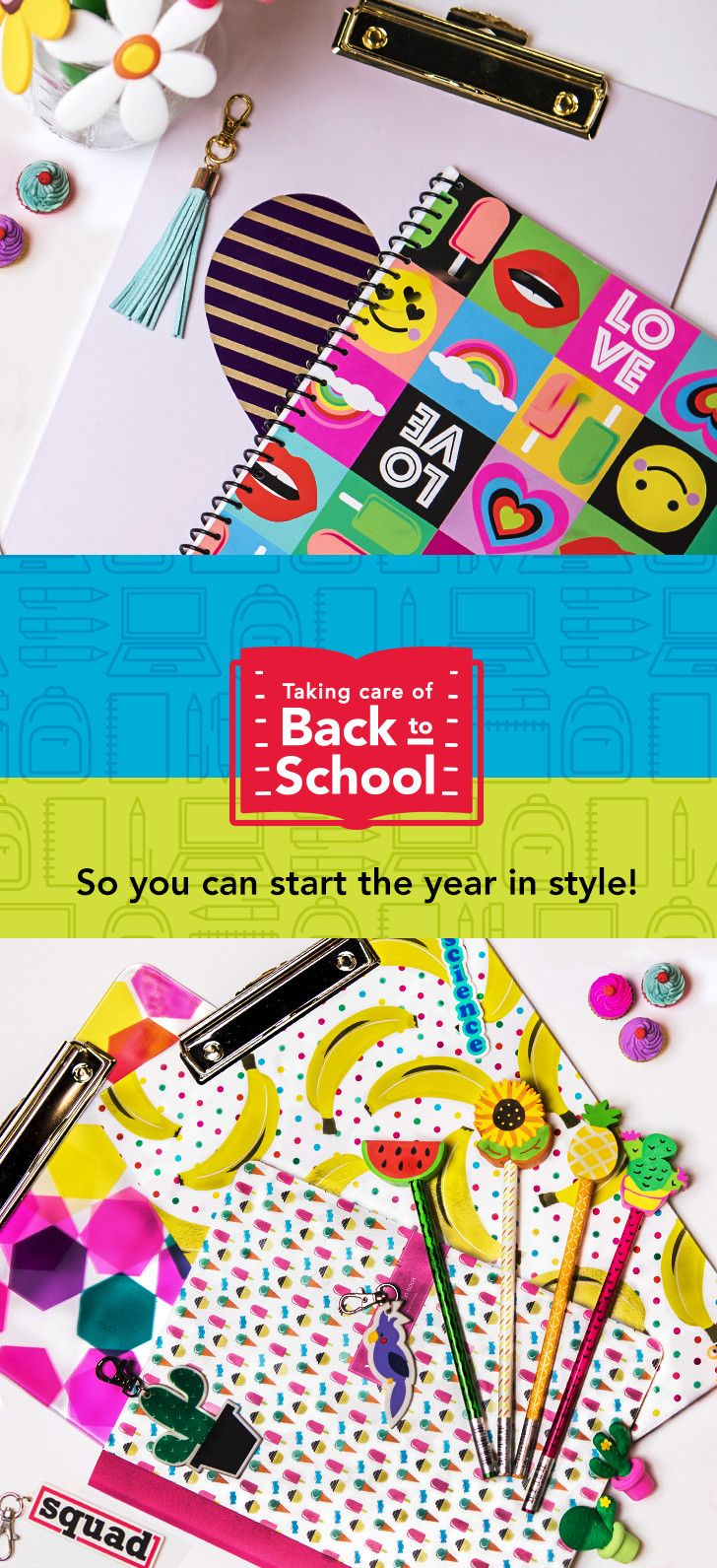 A great school year begins with us! Keep your kid organized with the coolest Back to School supplies, like Themed Pencil Toppers, a Pink Heart Clipboard, emoji notebooks and more! Looking for summer activities? Here's a cute craft idea: DIY your decorations together! Shop the best in Back to School at Office Depot®.