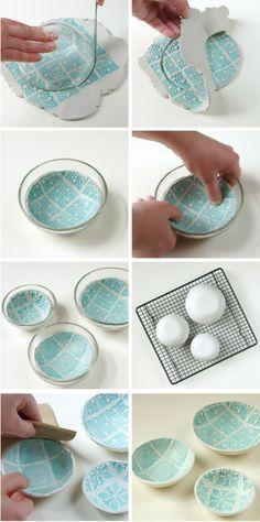 Diy Stamped Air Dry Clay Bowls
