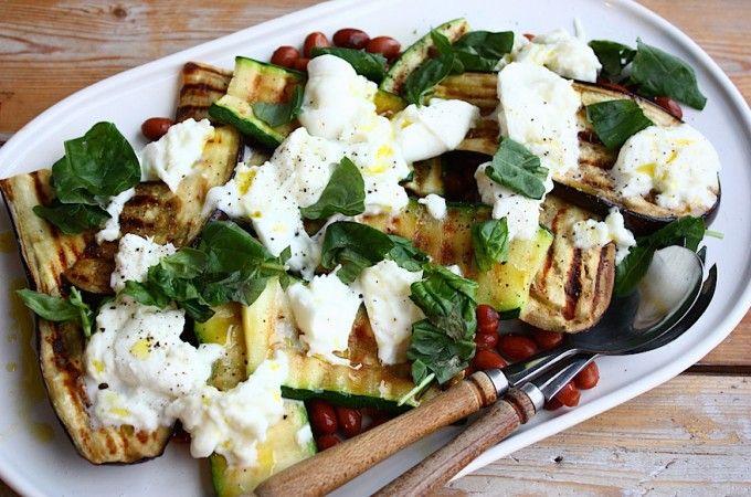Salade met gegrilde groenten en borlotti bonen - Francesca Kookt