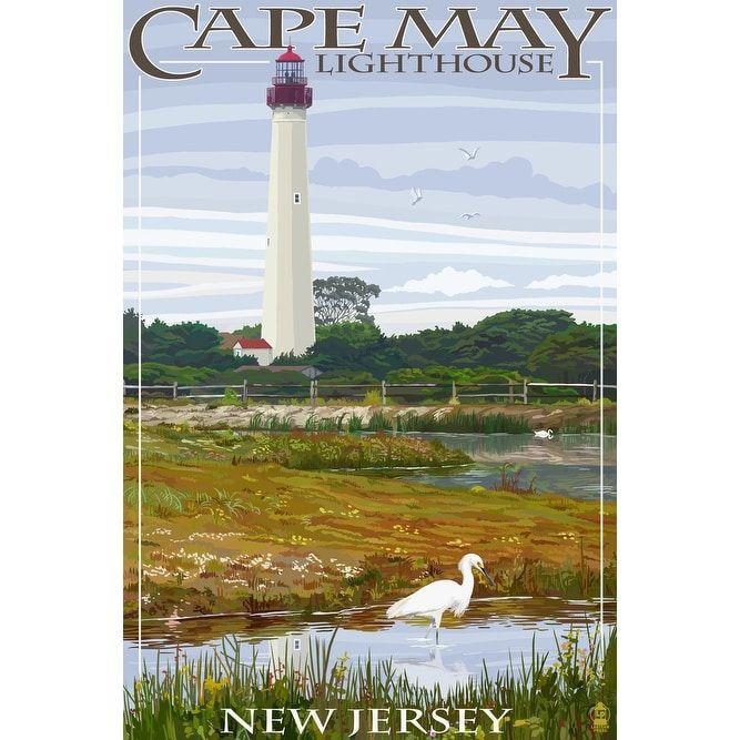 NJ Shore?- Cape May Lighthouse - LP Artwork (Cotton/Polyester Chef's Apron), Blue wash