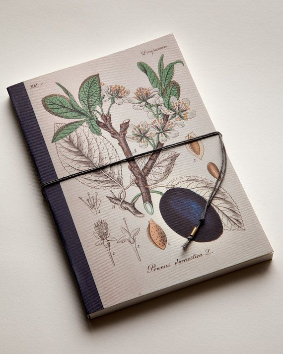 handmade bind and fold notebook, Journal, plum, special design wrapp Diary Floral motive, historical illustration,