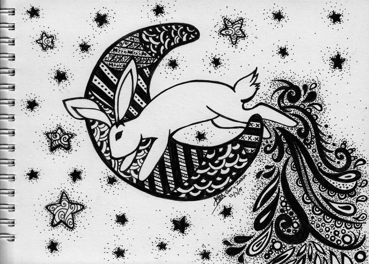Rabbit, Jump Over the Moon. A traditional work. Pen on paper.