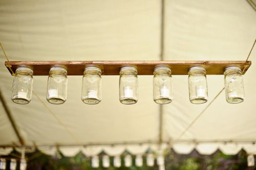 Diy nail glue mason jar lids to a board tea light in jar for Diy hanging tea light candle holders