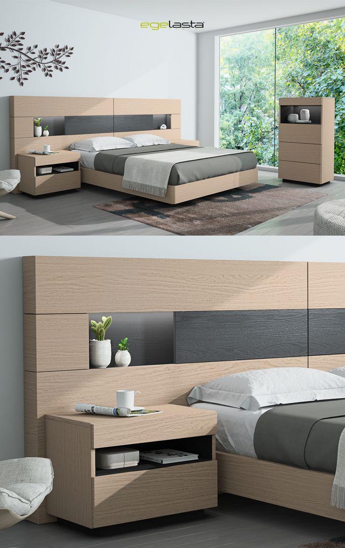 Egelasta · Mueble · Moderno · Madera · Mobiliario de hogar · Catálogo New Live · Noche · Dormitorio · Cama con cabezal Platea y mesita de noche Aries · Roble nórdico y antracita poro roble