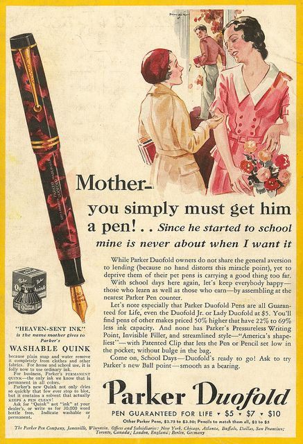 Advertising: Parker Pen co., September 1931 #Wisconsin #advertising #vintage
