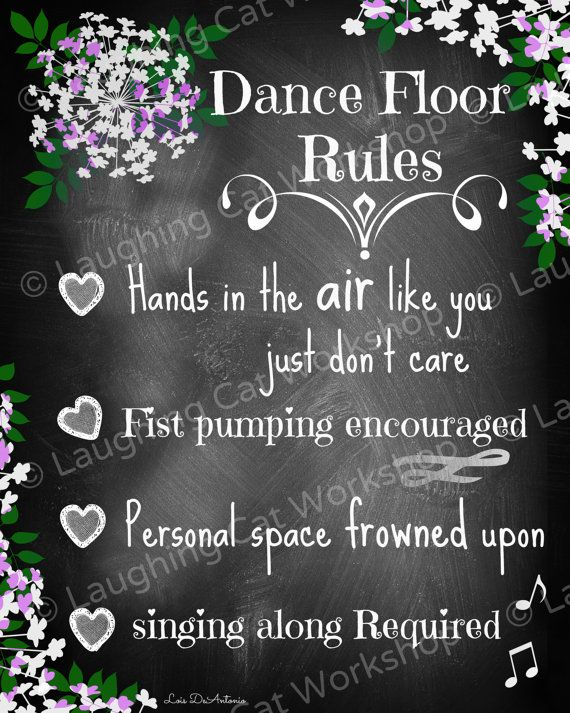 Dance Floor Rules... Original funny rustic chalkboard print to spice up your…