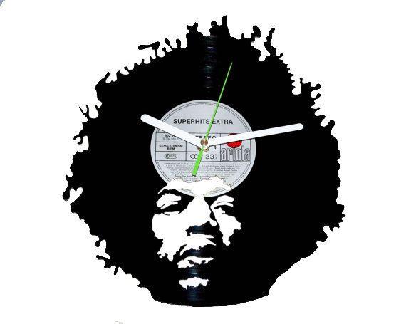 Vinyl Clock-Jimi Hendrix. Unique Wall Decor.  by puffpuffdesign