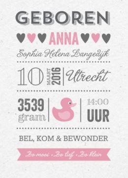 Typografie is helemaal van deze tijd, kies daarom voor dit geboortekaartje typografie met diverse teksten in verschillendefonts . Je kunt zelf deze geboortekaart naar wens maken.