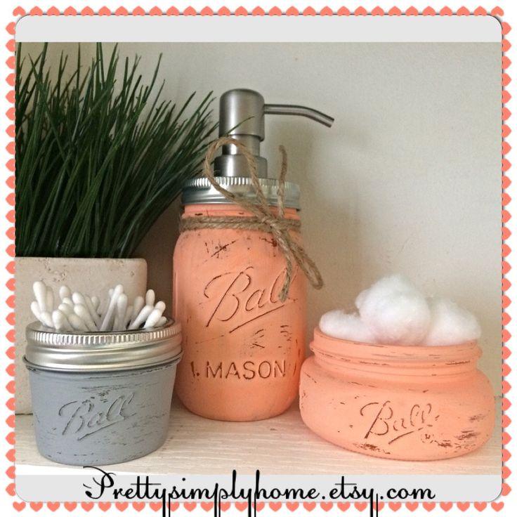 A personal favorite from my Etsy shop https://www.etsy.com/listing/228406256/painted-mason-jar-bathroom-set-3-pc-set