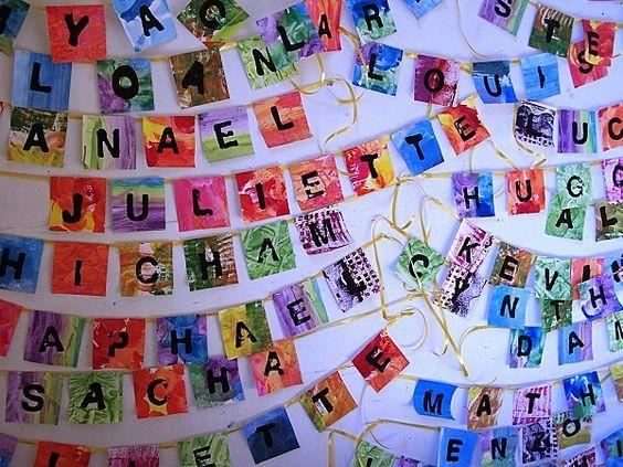Des guirlandes de prénoms , des fonds variés ,des tampons lettres ,des couleurs…
