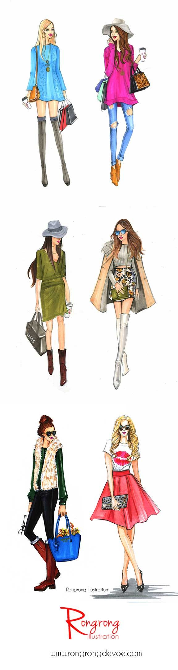 Street fashion styles illustrations by Houston fashion illustrator Rongrogn DeVoe. more at www.rongrongillustration.etsy.com