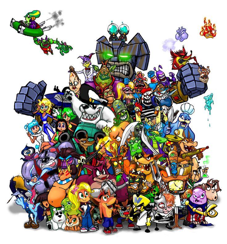 The gang's all here! :D | Crash Bandicoot | Pixiv link : https://www.pixiv.net/member_illust.php?mode=medium&illust_id=16988316