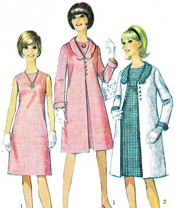 robe des années 60 modèle manteau modèle simplicité 6412 Mod sans manches un ligne robe festonnée col manteau Womens Vintage Sewing Pattern buste 32 1/2