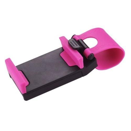 Reiko Car Steering Wheel Phone Socket Holder Hot Pink