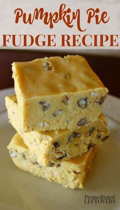 This pumpkin fudge recipe is easy to make. It is creamy and delicious. The addition of pumpkin pie spices gives this pumpkin pie fudge a delicious flavor. This is the perfect fall dessert!