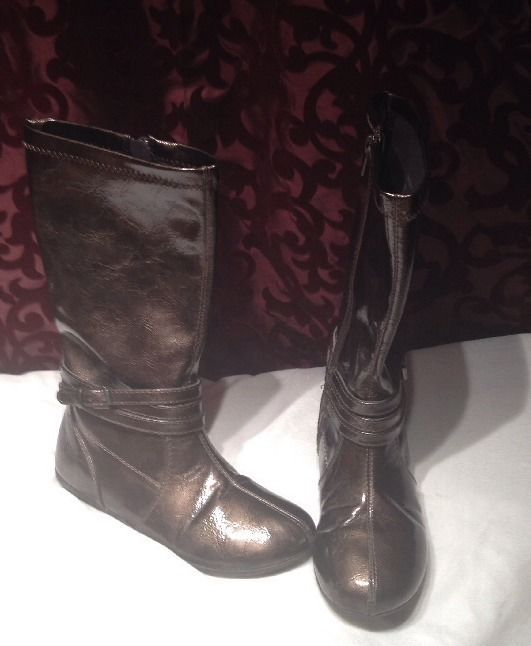 Sz 13 Caden Nordstrom Girls Long Dressy Patent Leather High Boots Metallic Brown #Nordstrom #Boots