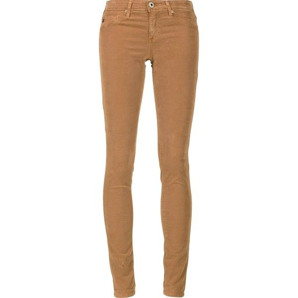 Ag Jeans super skinny jeans (373 CAD) ❤ liked on Polyvore featuring jeans, pants, bottoms, pantalon, brown, skinny jeans, skinny leg jeans, brown skinny jeans, ag adriano goldschmied and beige jeans