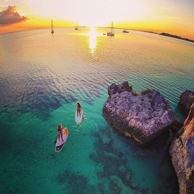 Incredible Drone Shot Of Stand Up Paddle Boarding In Turks And Caicos