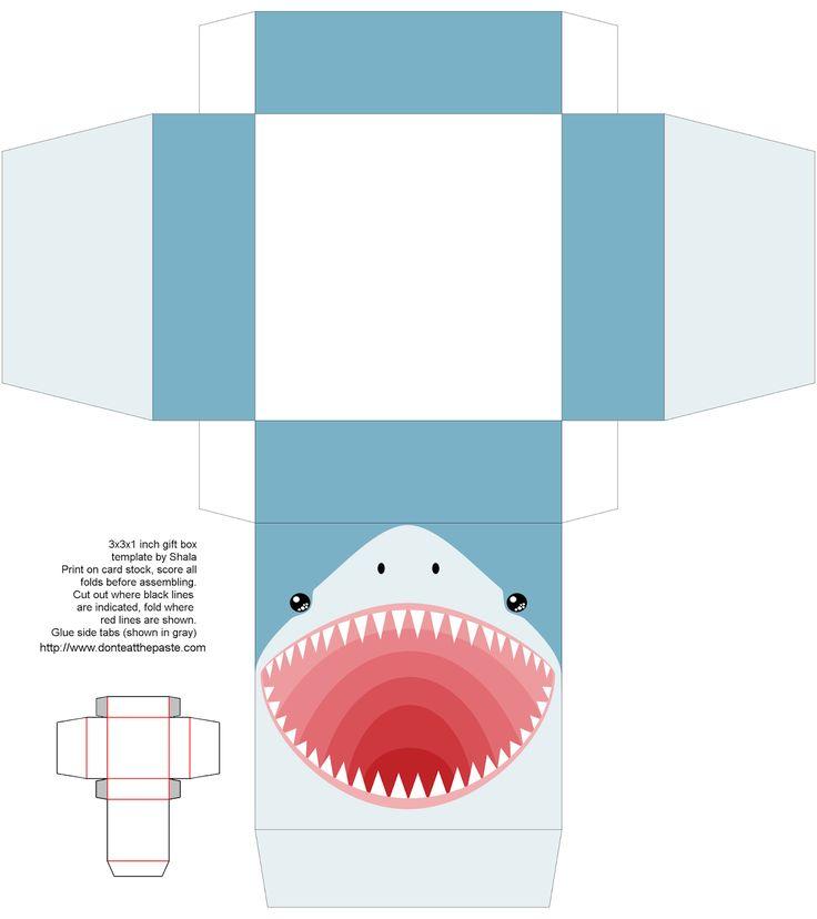 Printable shark gift box #sharks #party #papercrafts #sharkweek